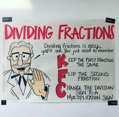 dividing fraction anchor chart classroom math, anchor charts is part of Homeschool math - Math For Kids, Fun Math, Math Math, Maths Algebra, Math Fractions, Dividing Fractions, Equivalent Fractions, Box Method Multiplication, Multiplying Decimals