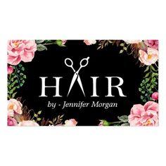 Floral Hair Stylist Logo Beauty Salon Appointment Business Card #Hairstylist #Business #Card