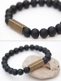 Black matte onyx bracelet Gemstone stretch by TheSeaLovers on Etsy