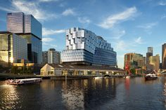 Image 1 of 4 from gallery of Fender Katsalidis Architects' Northbank Seafarers Place Development Approved. Photograph by Fender Katsalidis Architects University Architecture, Riverside Park, Concept Architecture, Futuristic Architecture, Seafarer, A 17, Willis Tower, Hotels And Resorts, Melbourne