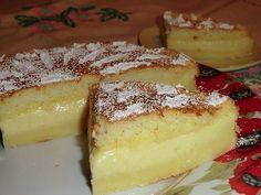 """""""Умное пирожное""""  (Тому, кто еще не встречал такого чудо-пирожного, объясню почему оно так назвается.  Все ингредиенты смешиваются, получается очень жидкое тесто, но в духовке оно """"умным"""" образом расслаивается на слои: и у вас получается торт с кремом посередине. Расслоение происходит за счет разной жирности составляющих.) Необходимо (на форму 20х20см)  4 яйца  125 г масла 500 мл теплого молока  115 г муки  150 г сахара 0,5-1 чл ванилина без горки  1 ст л воды  Приготовление:  1. Бел"""