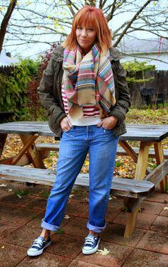 Fashion Fairy Dust  Striped Sweatshirt, Plaid Blanket Scarf, Boyfriend Jeans, Military Jacket And Converse