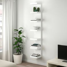 shelves for post LACK Wall shelf unit - white - IKEA Ikea Lack Wall Shelf, Lack Shelf, White Wall Shelves, Wall Shelf Unit, Shelves In Bedroom, Wall Shelf Decor, Shelves On Wall, Corner Shelves, Ikea Wall Decor