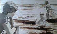 Niños sentados - Oleo sobre tela #sandraromani #artonbcn #artecontemporaneo #artebenarcelona #pintura