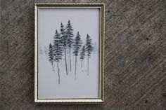 Lodgepole Pines by Emilie Crewe Pen & Ink on layered mylar #ink #drawing #frame #art #mountains