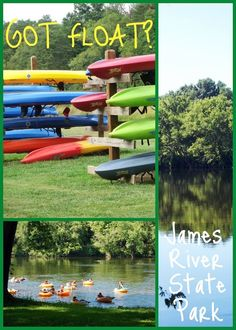 """""""Water Sports for Summer Fun Offered at James River State Park"""" This is our park of the month, so here we are sharing MORE cool stuff to do at James River State Park!  Did you know you can rent a canoe, tube or kayak at James River State Park? They can even shuttle you back to the park after you paddle or float a few miles. More here: http://www.virginiaoutdoors.com/article/more/4410"""