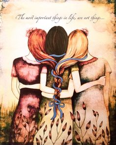 Siblings gift, three sisters art print,gift for mother, gift for sisters by claudiatremblay on Etsy Sisters Art, Three Sisters, Sister Gifts, Mother Gifts, Mothers Day Drawings, Mother Daughter Art, 3 Best Friends, Friends Moments, Sibling Gifts