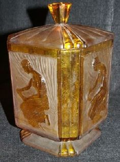 Amber Glass Biscuit Jar.  Made by Sowerby.    England