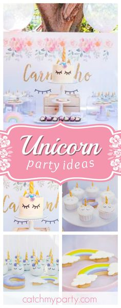 Take a look at this stunning garden unicorn birthday party! The dessert table is so pretty!! See more party ideas and share yours at CatchMyParty.com #unicorn #birthdayparty