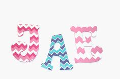 Chevron Print Decorative Wall Letters Nursery Decor by Sastara
