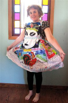 Eclectic Wearable Art Collage DRESS w/ Vintage Fabrics mybonny