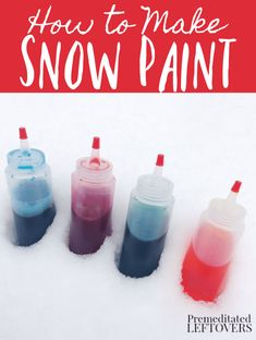 Turn a boring snow day into something fun and colorful when we show you How To Make Snow Paint! Bright, inexpensive, and fun this is a perfect winter activity to keep the kids busy while they get some fresh air! Winter Activities For Kids, Toddler Activities, Toddler Learning, Kids Fun, Learning Activities, How To Make Snow, How To Make Paint, All You Need Is, Fun Crafts