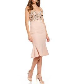 Glamour By Terani Couture Beaded Sheath Dress Dillards