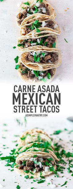 Carne Asada Mexican Street Tacos Recipe - - Grab your skillet because that's all you need to make these amazing tacos de asada for your Taco Tuesday eats! Flavorful and authentic, this Mexican street tacos recipe will easily become your favorite meal! Carne Asada, Gourmet Recipes, Mexican Food Recipes, Beef Recipes, Healthy Recipes, Healthy Dinners, Tortillas, Minneapolis Food, Cooking
