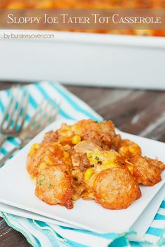Sloppy Joe Tater Tot Casserole - an easy cheesy dinner recipe that my kids absolutely beg for!
