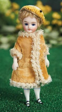 Beautiful German All-Bisque Miniature Doll in Elegant Costume 700/900 Auctions Online | Proxibid