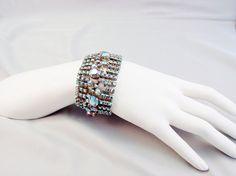 Huge Vintage Rhinestone Bracelet 1950s Blue AB 9 by VintageGemz, $75.00