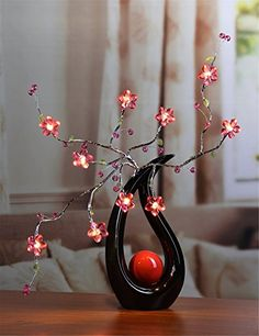 Lightshare™ NEW Pink Flower Branch Light,Warm White Light,Battery Powered for Home Decoration Home & Kitchen Home & Kitchen Product Features pink flower,silver branches with warm white light,pink crystal acrylic flowers with red beads and green i. Acrylic Flowers, Pink Flowers, Stylish Home Decor, Modern Decor, Indoor String Lights, Blue Floor, Pink Acrylics, Flower Lights, Flower Branch