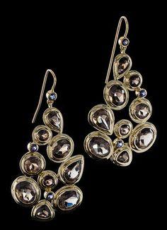 Smokey Topaz & Iolite 18K Gold Earrings