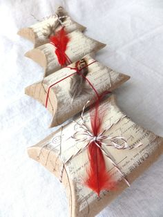 pillow boxes made from paper rolls - I feel justified for saving all those paper innards!! LOVE THIS!