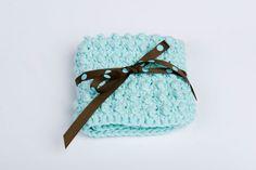 Washcloth Crochet Cotton Spa Scrubbie blue by GwensHomemadeGifts, $8.00