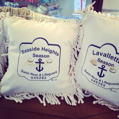 Beach badge pillows just arrived!  Lots of beach towns available!