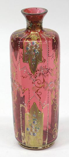 cranberry glass vase, hand painted enamel floral & jewel decoration with gilt accents, Bohemia, ca. Vase Cristal, Vases, Cranberry Glass, Bohemian Art, Boho, Antique Glass, Colored Glass, Art Nouveau, Glass Art
