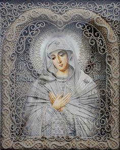 Religious icons. Macrame art. Vladimir Denshchikov