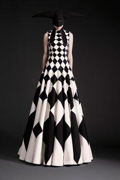 Dramatic dress with bias cut checker board print; black & white geometric fashion // Gareth Pugh Spring 2015