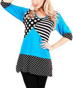Another great find on #zulily! Black & Turquoise Patchwork Tunic by Aster #zulilyfinds