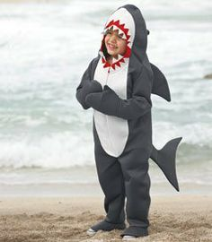 "great white shark costume by Beyond Fashion. $49.00. Cue the ""Jaws"" soundtrack. Your little shark prowls the neighborhood in a hooded gray bodysuit, complete with fin, tail and pointy teeth. Watch your hands when you dole out candy to him! Polyester. Imported."
