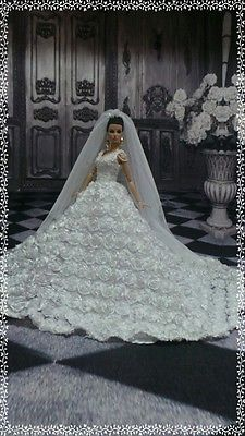 "PKPP-192 Princess Wedding Gown dress outfit for FASHION ROYALTY Silkstone 12"" Lovely new bridal fashion"