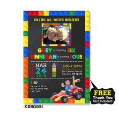 Lego Car Birthday Invitation. Lego Twin Dual Birthday Party. Lego Photo Invitations. Boy Lego Party. Lego Race Car, Lego Building Blocks 298 by 800Canvas on Etsy