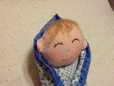 Swaddle Baby Boy Doll 8 inch Soft Cuddly First by PeekabooPorch