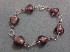 Dark Purple Heart Bracelet