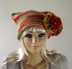 KNITTING PATTERN HAT  Knit Pom Pom Hat Knitted  by LiliaCraftParty