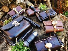 Leather camping/survival gear with fishing equipment. Perfect for a hiking trip! www.facebook.com/LEFGEAR
