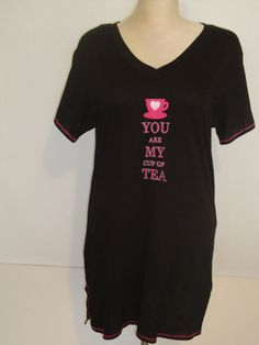 Rampage Nightgown YOU ARE MY CUP OF TEA size 1X & 2X Black Sleep NEW #Rampage #Gowns http://stores.ebay.com/WiseSize