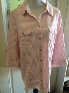 Size  1X Xlarge CROFT & BARROW Pink Striped Button Down Blouse Womens Plus
