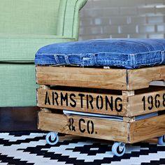 diy un poggiapiedi impressionante con storage da jeans e una cassa, le idee di stoccaggio