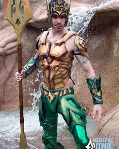 Shot of aquaman by @aggressivecomix  While I didn't fully submerge the armor did really well being around water. I made sure to use a spray clear coat after I painted to protect it. The water just beaded up and ran off.  Eva foam armor by me  Trident by @dariendhester  #aquaman #colossalcon #colossalcon2016 #arthurcurry #jasonmomoa #justiceleague #atlantis #mera #cosplay #underrated #aquamanisabadass #dynamitewebbercosplay #unitetheseven