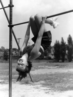 Hanging from monkey bars! We did some awesome tricks that schools would never allow today.