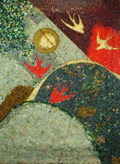 Titolo ( Aspettando la primavera) tecnica Mista Marmo,onice ,pietre varie, ori 24kt, smalti veneziani di Murano,millefiori,conchiglie, polvere di marmo e foglia d'oro     alt. 138x100 n°103 Anno 2016.JPG