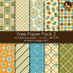 Free Printable 10 Digital Papers 12x12 300 DPI