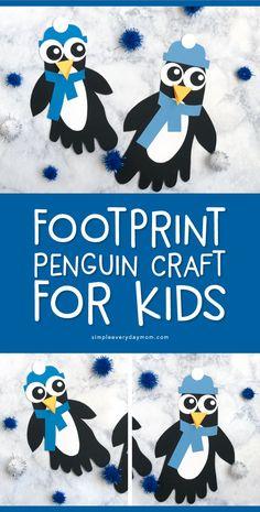 A Cute Footprint Penguin Craft For Kids Winter crafts For Kids Kids Crafts, Sand Crafts, Craft Projects For Kids, Arts And Crafts Projects, Toddler Crafts, Crafts For Teens, Preschool Crafts, Preschool Kindergarten, Kindergarten Projects