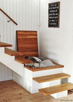 hidden staircase storage...if Brian is going to turn your steps in the laundry room...great idea for some extra storage space.