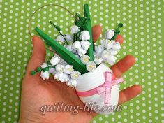 Items similar to Spring decor Happy Easter Ornaments Easter Decorations Easter Quilled Easter egg with flowers Quilling egg with lily of the valley Paper art on Etsy