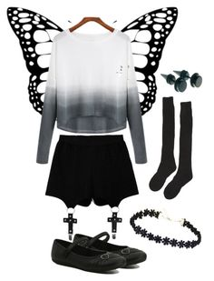 """""""Beautiful Butterfly"""" by le-gratte-ciel ❤ liked on Polyvore featuring Chicnova Fashion, Samantha Holmes, George, women's clothing, women, female, woman, misses and juniors"""