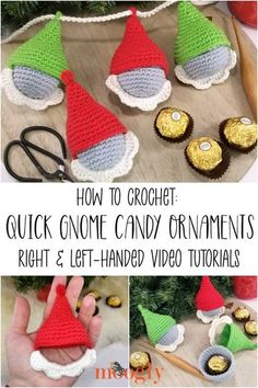 The Gnome Candy Ornaments Tutorial demonstrates how to crochet this fun and fast holiday pattern - in both right and left-handed videos! #freecrochetpattern #crochetpatterns #holidaycrochet #gnomes #elves #howtocrochet #crochettutorials Christmas To Do List, Crochet Christmas Gifts, Diy Christmas Ornaments, Crochet Gifts, Crochet Chart, Free Crochet, Tunisian Crochet, Crochet Stitches, Holiday Crochet Patterns