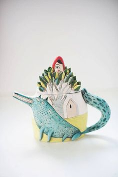 Ceramic Teapot Red Riding Hood Teapot Clay by CalacaCeramicArt